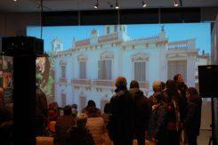 La projecció del vídeo Sant Boi des del cel va centrar la majoria d'atencions // Marc Pidelaserra
