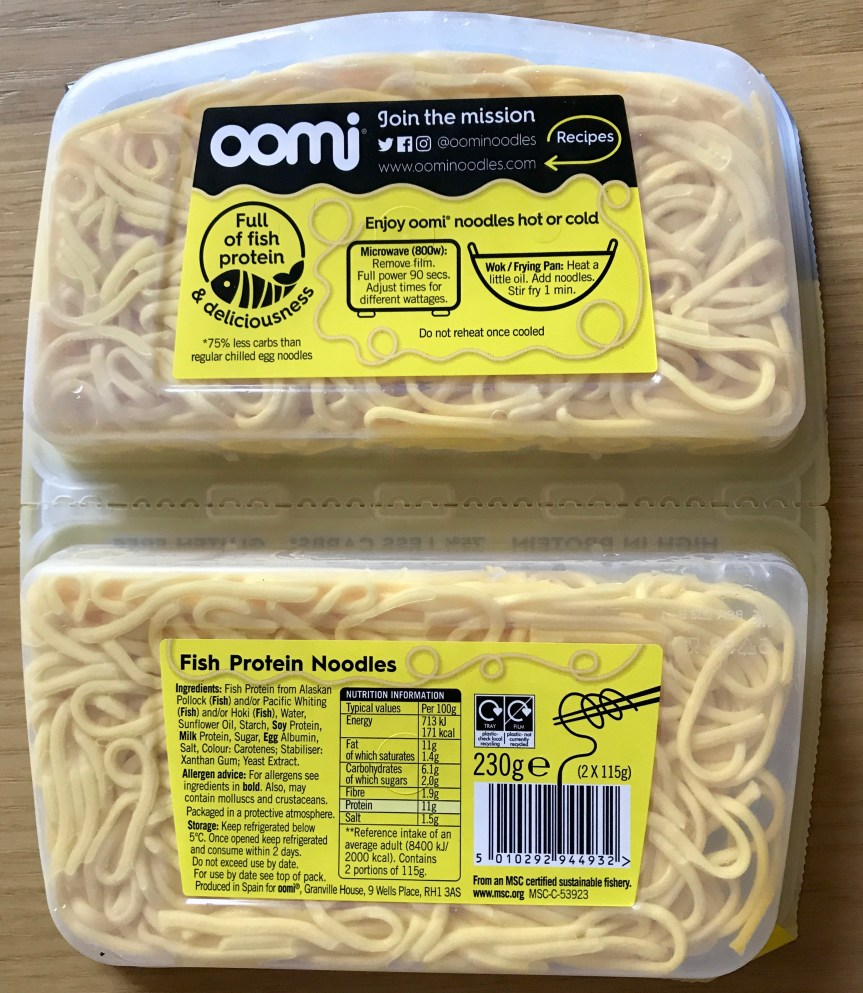 Oomi Protein Noodles, Back of Packet Showing Ingredients, Nutrition Information, 2017