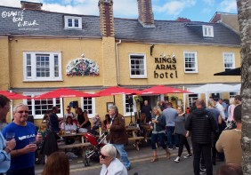 Festival-goers enjoying the Kings Arms Pub in Nevill Street