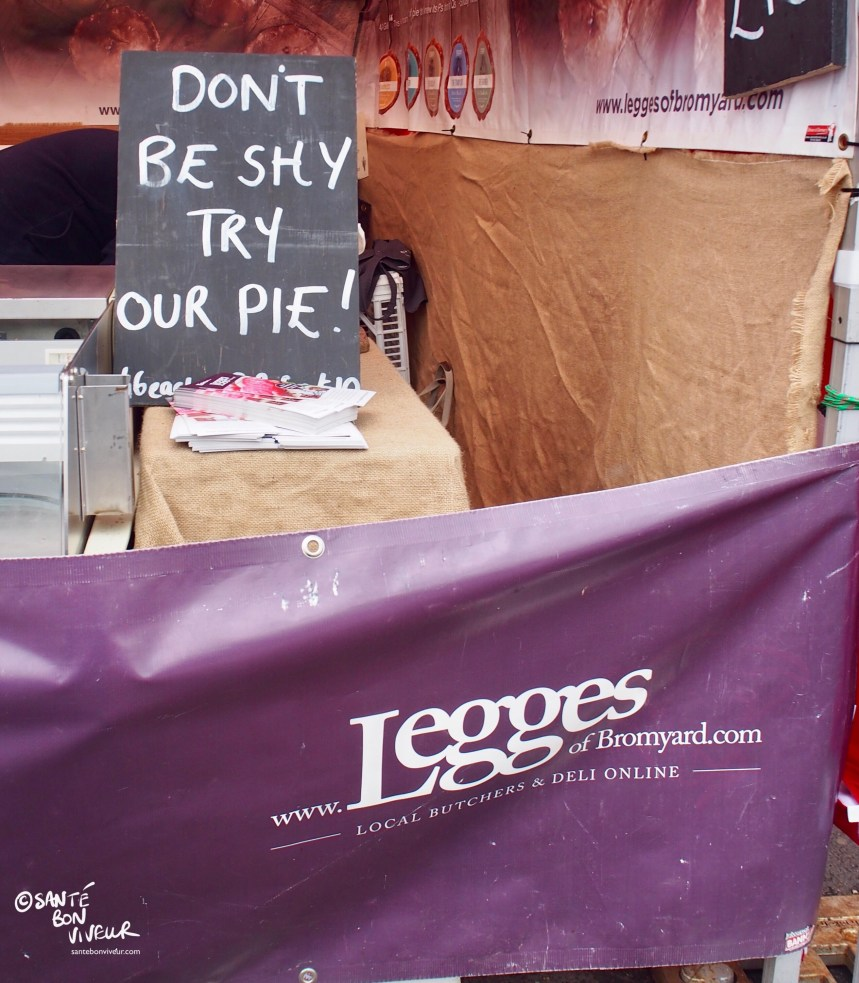 Legges Pie Sign, Abergavenny Food Festival, Wales, UK, 2017