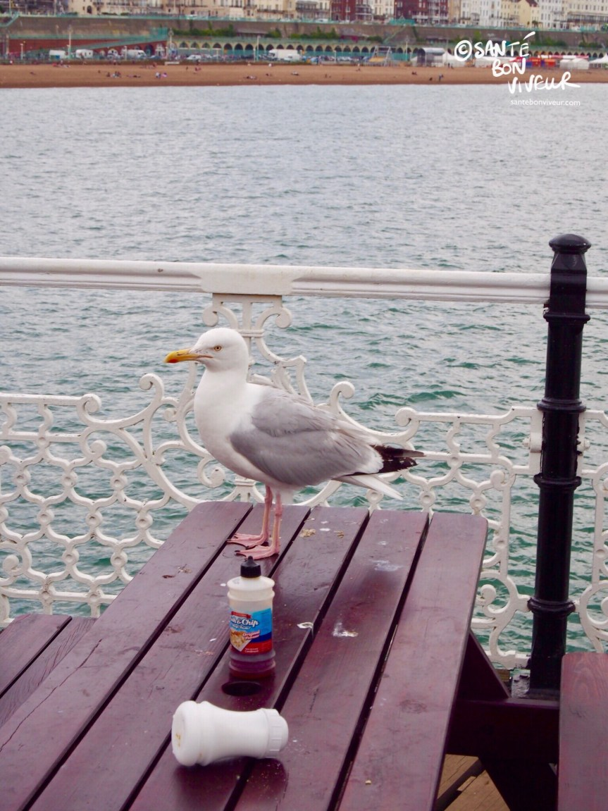 Seagull on the Fish and Chip Picnic tables at Brighton Palace Pier