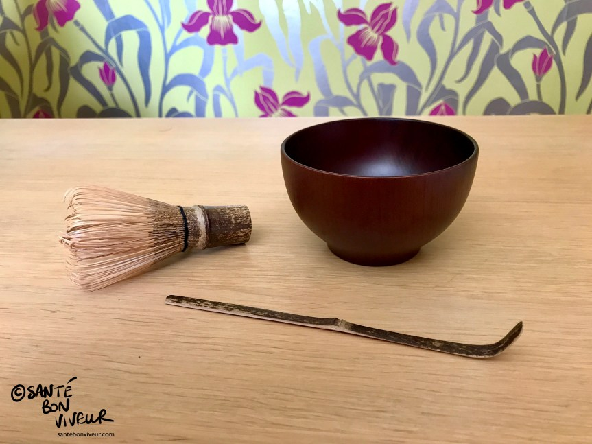 Traditional Japanese Matcha Green Tea-Making Implements: Chasen (Bamboo Whisk), Chashaku (Bamboo Spoon) and Matcha-Chawan (Tea Bowl), 2017