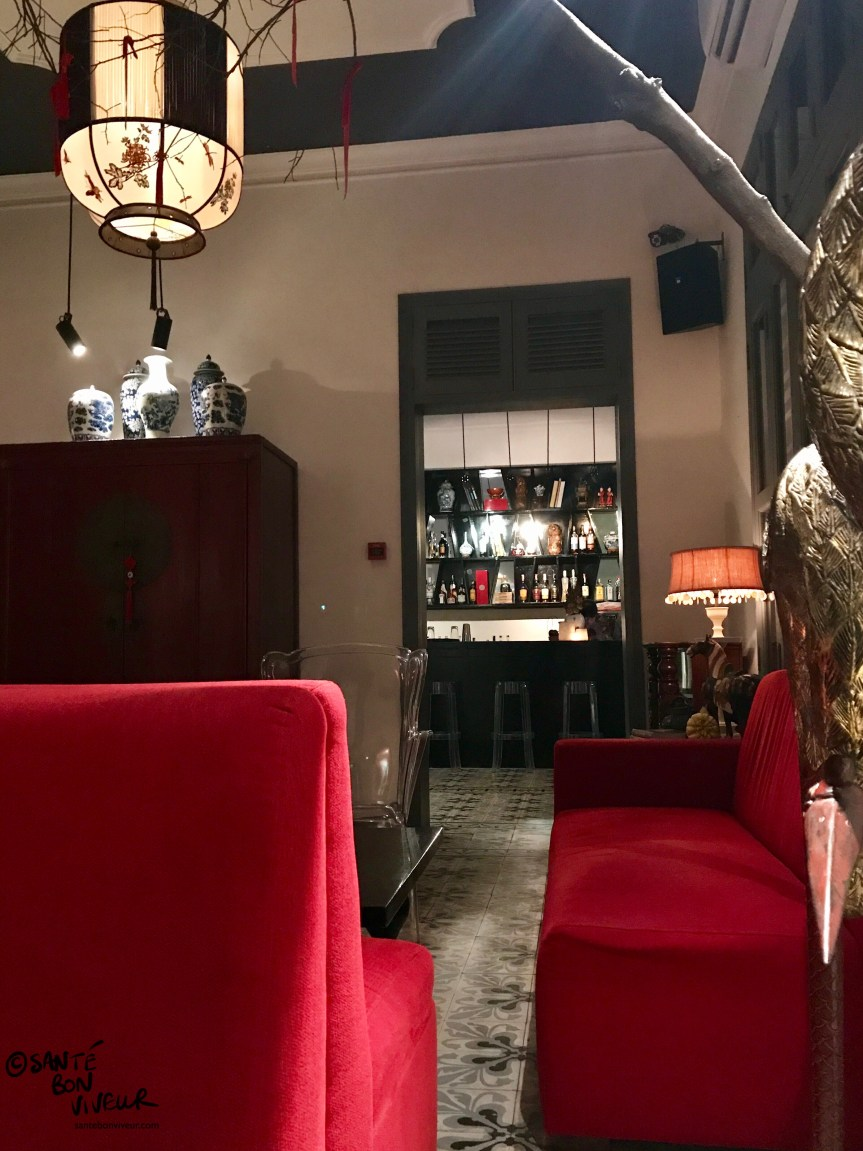 Lounge Area & Bar at Noir. Dining in the Dark Restaurant, Saigon/Ho Chi Minh City, Vietnam 2017