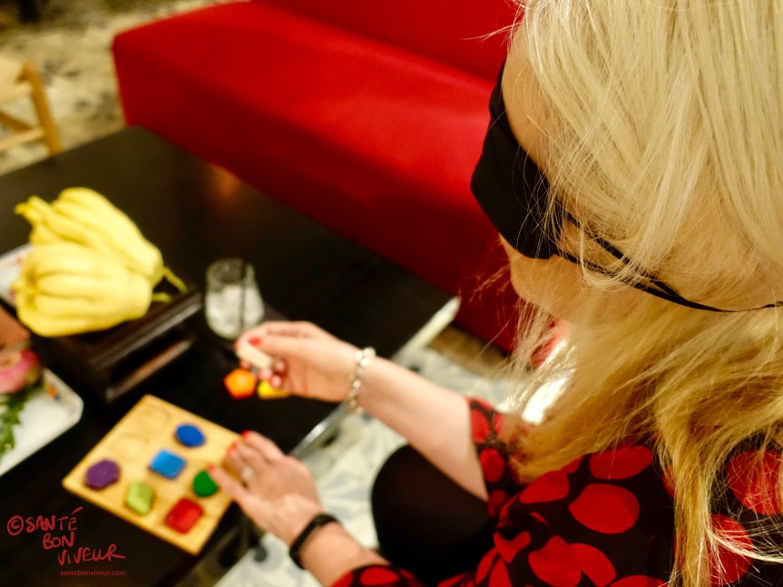 Me doing the Wooden Shapes Puzzle blindfolded, Noir. Dining in the Dark Restaurant, Saigon/Ho Chi Minh City, Vietnam 2017