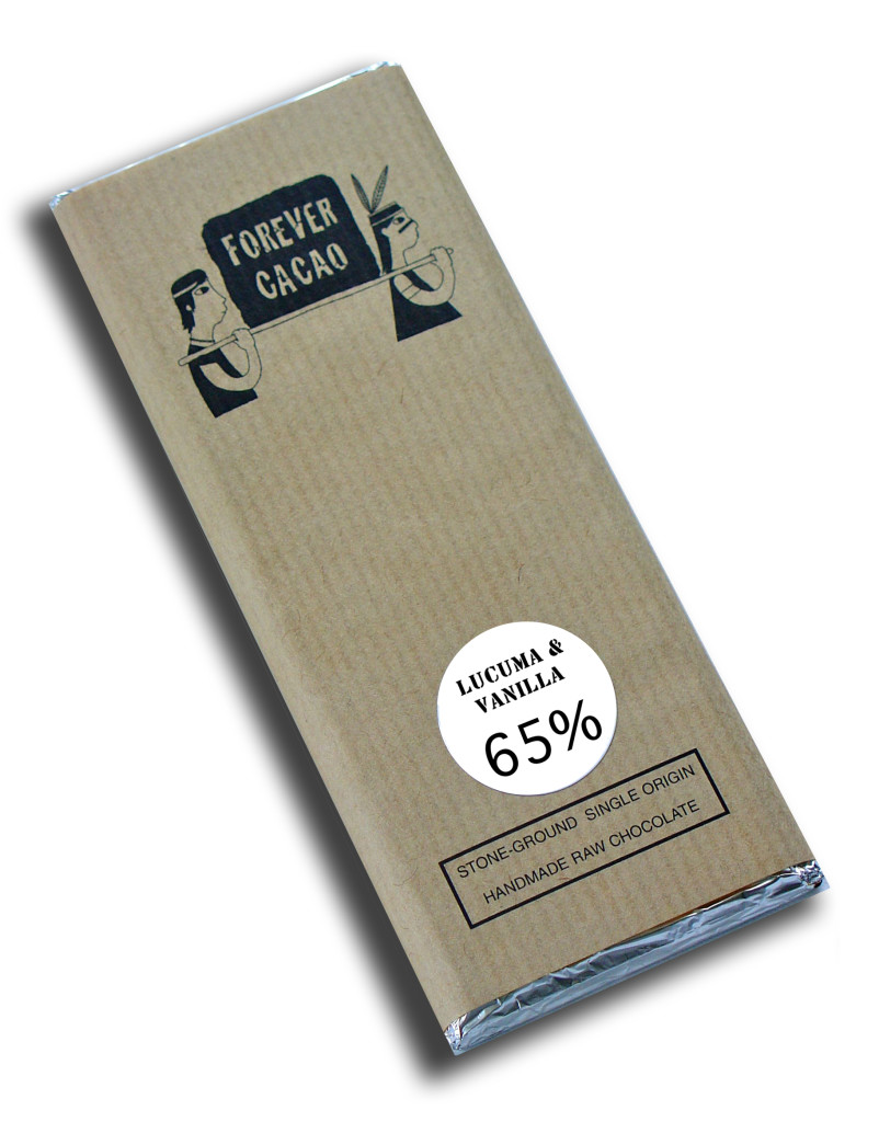 Forever Cacao Lucuma & Vanilla 65% raw chocolate bar. Milks and sweeteners in craft chocolate
