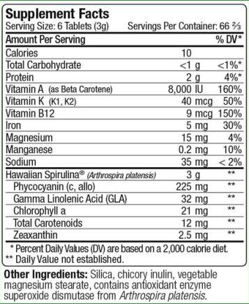Valori Nutrizionali Spirulina