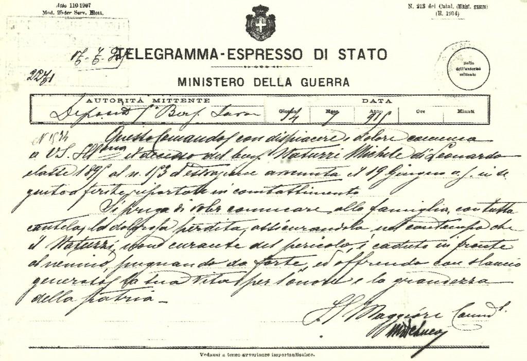 Telegramma annunciante il decesso di Michele Natuzzi, Archivio Storico Comunale di  Santeramo in Colle. Foto di Luciano Rampino