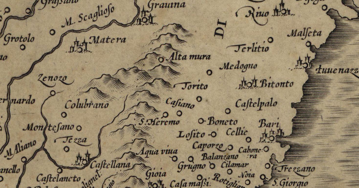 La mappa di Santeramo del 1589 di Mercatore