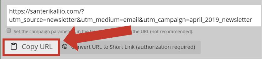 UTM-tagin kopioiminen URL Builderista