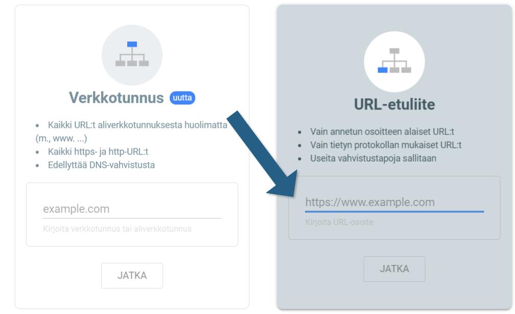 Search Consolen URL-etuliite verkko-omaisuustaso