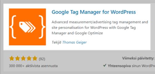 GTM4WP-lisäosa WordPressiin