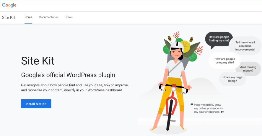 Google Site Kit etusivu