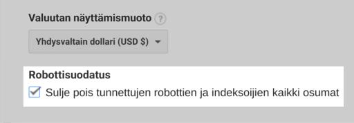 Robottisuodatus päällä