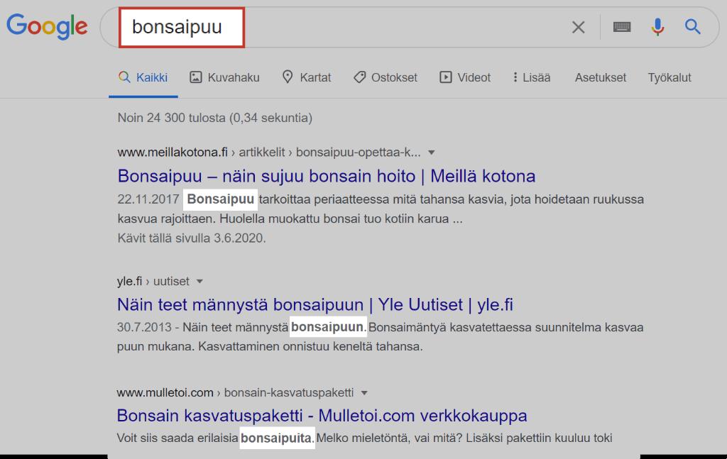 Bonsaipuu-termin hakutulokset