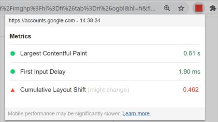 Web Vitals Chrome-lisäosan raportti