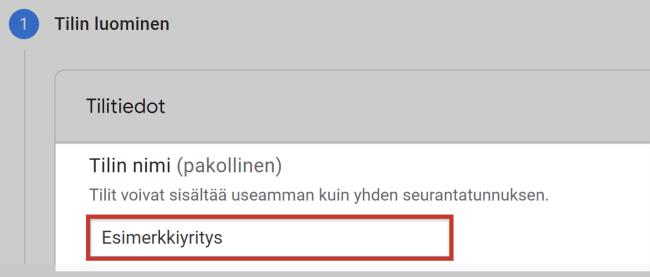 Google Analytics 4 tilin nimi
