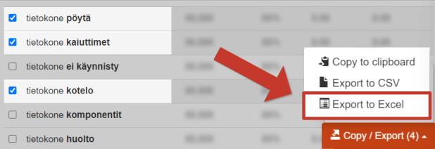 Keywordtool avainsanat Exceliin