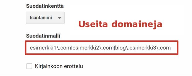 Usean domainin suodattaminen