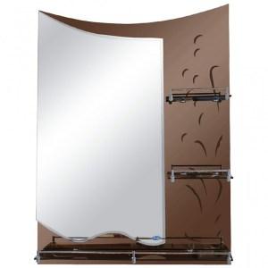 Зеркало коричневое с 3-мя полками Frap F687 (5)