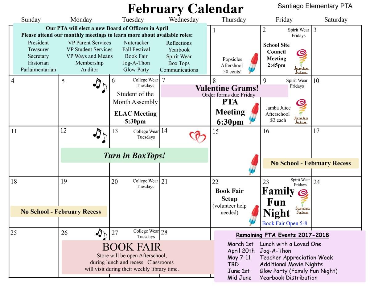 Svusd Calendar.February Calendar Santiago Steam Pta