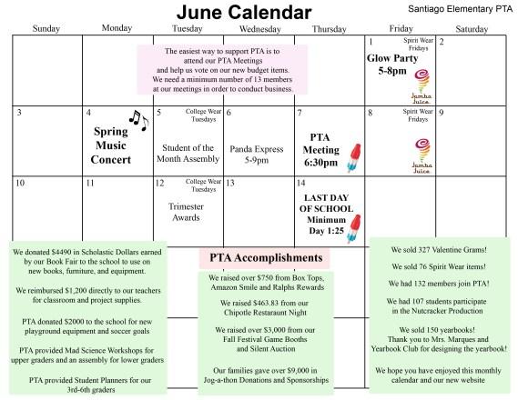 Svusd Calendar.June Calendar Pta Acheivements Santiago Steam Pta