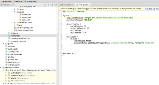 Google Glass GDK App Build Gradle File Settings by Marcio Valenzuela Santiapps.com
