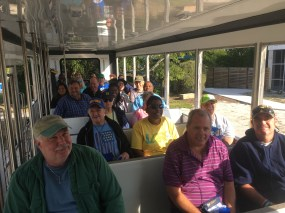 LARC members aboard Tarpon Bay Explorers' tram looking for birds off Wildlife Drive