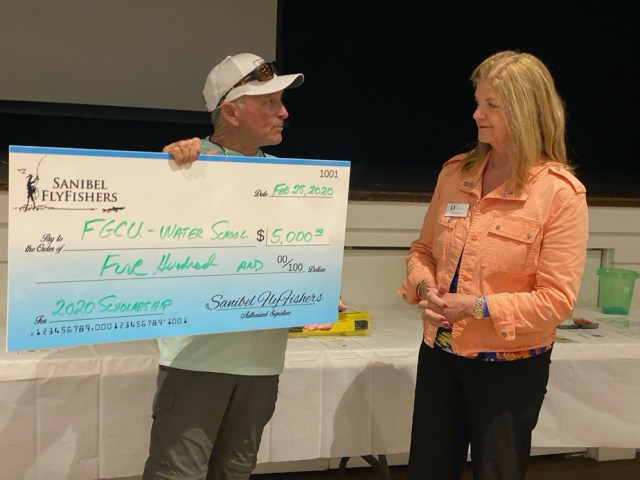 Sanibel FlyFishers Make Donation for FGCU Water School Scholarship