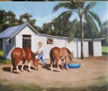 Klunk_Sally at the Stable_oil on linen