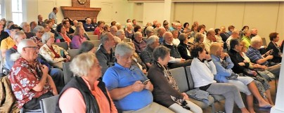 "About 120 people showed up at the Sanibel Community House to hear Florida ACLU Director Howard Simon talk about ""Defending Human Rights in the Era of Donald Trump."" SC photo by David Rohn"
