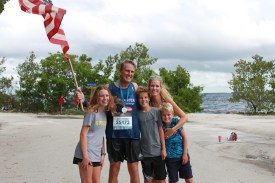 Jeff Muddell and his wife Stephanie with their children after the virtual Boston Marathon. SC photo by Shannen Hayes