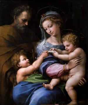 Raffaello Sanzio , Nossa Senhora da Rosa, óleo sobre tela, 1517