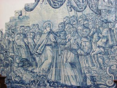 Santo António liberta o pai da forca – Painel de azulejos, interior da igreja