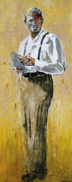 Dietrich Bonhoeffer, óleo sobre acrílico de Hyatt Moore, reprodução autorizada pelo autor. Hyatt Moore nasceu na Califórnia, mas considera-se cidadão do mundo. Casado com Anne, pai de 5 filhos, todos casados, vivendo em lugares distantes e cada um deixando a sua própria marca. http://www.hyattmoore.com/painting/Dietrich_Bonhoeffer