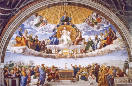 Disputa sobre o Santíssimo Sacramento. Fresco de Raffaello Sanzio, datado de 1508-1511. Museus do Vaticano.