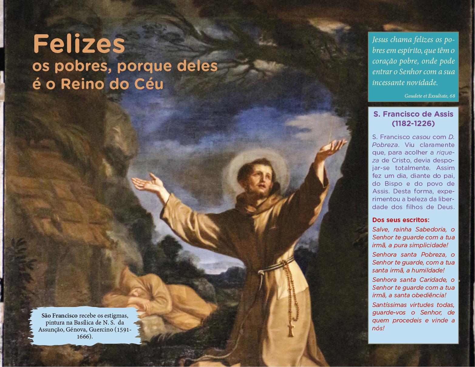 São Francisco recebe os estigmas, pintura na Basílica de N. S. da Assunção, Génova, Guercino (1591-1666).