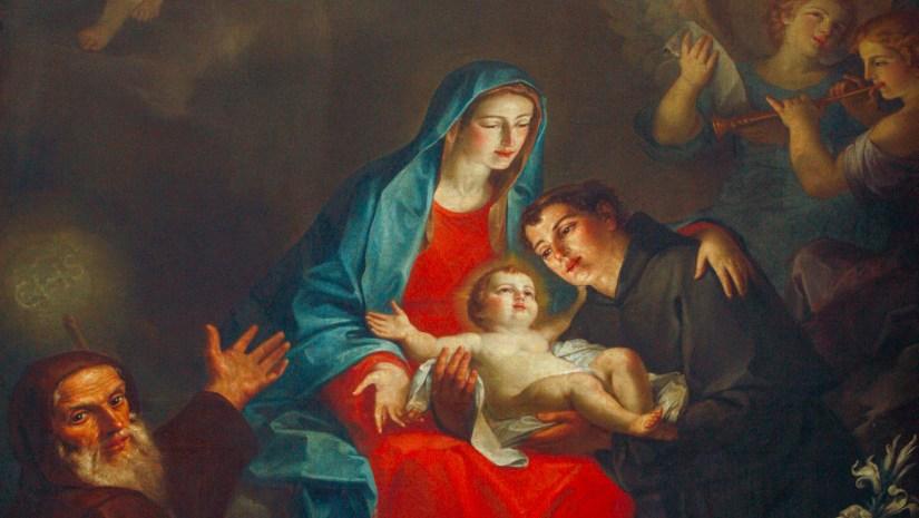 Nossa Senhora com o Menino, na companhia de São Francisco e Santo António. Igreja da Collegiata, Santarcangelo di Romagna, Itália. Óleo sobre tela, G. Melchiorre, 1755.
