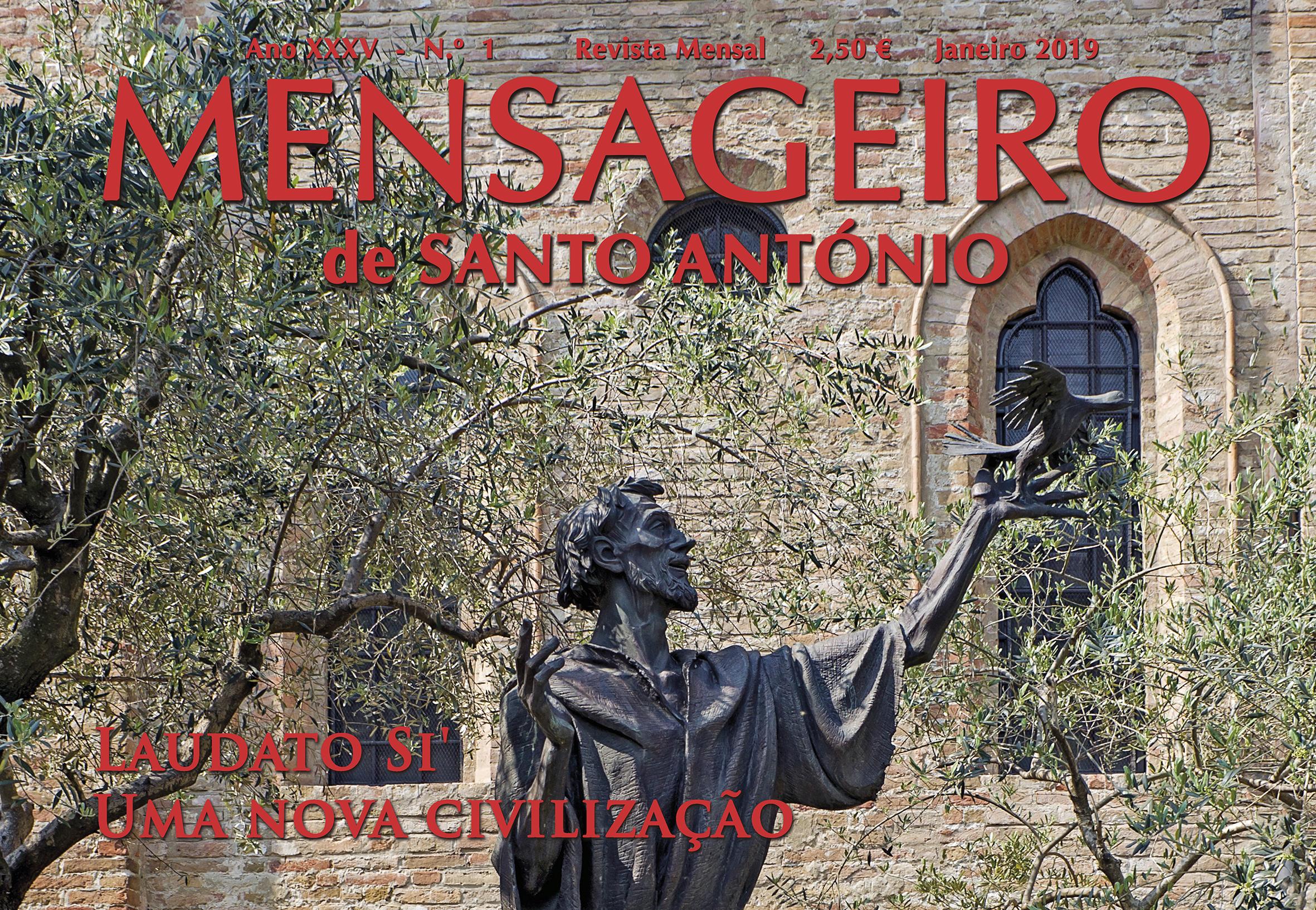 Capa Mensageiro de Santo António janeiro 2019, São Francisco de Assis louvando a criação. Laudato Si' - uma nova civilização.