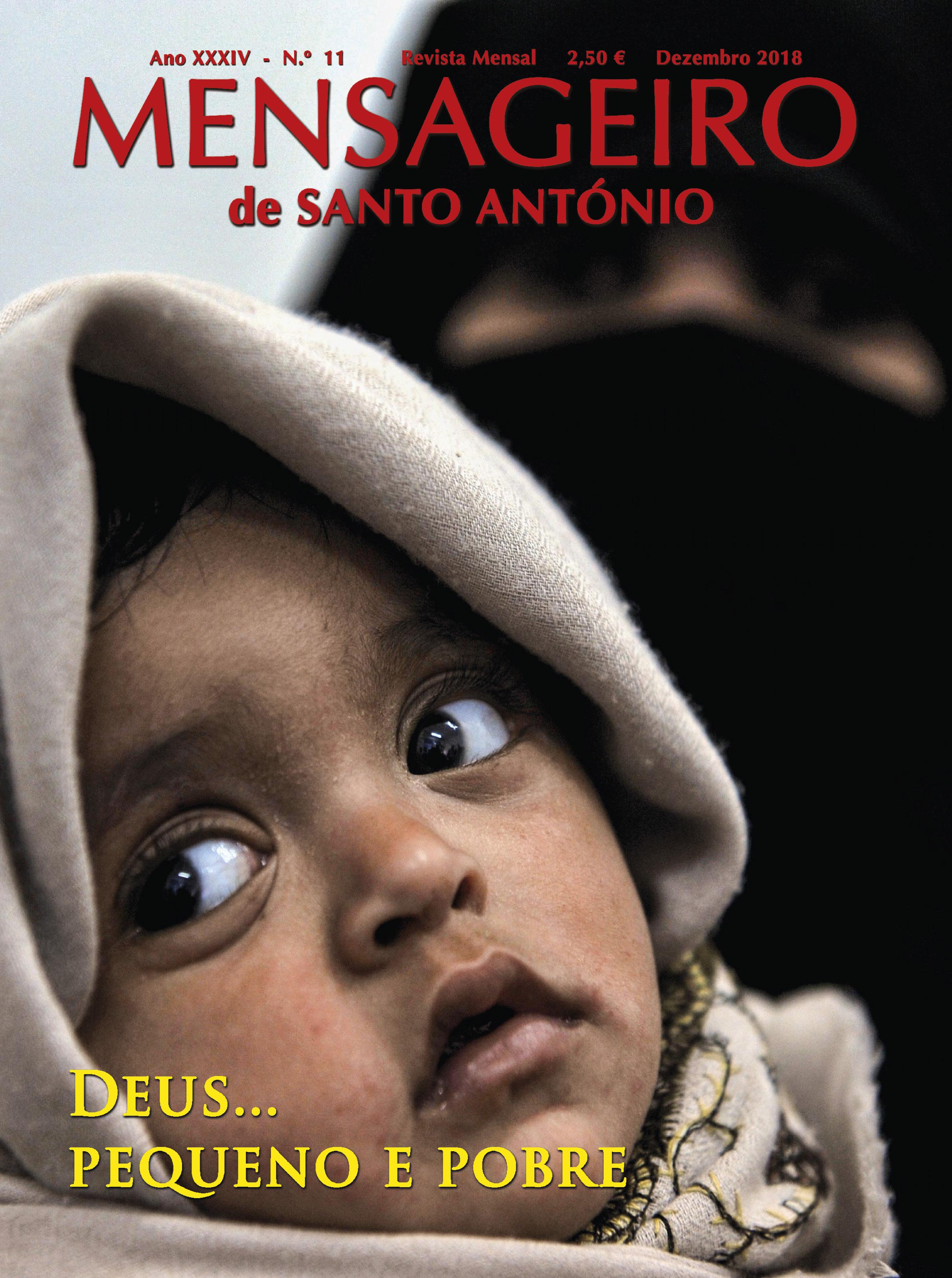 """Capa da revista """"Mensageiro de Santo António"""", edição de dezembro de 2018."""