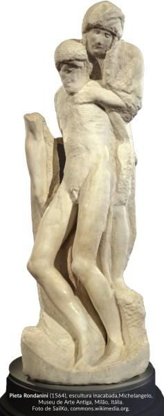 Pietá Rondanini (1564), escultura inacabada de Michelangelo, Museu de Arte Antiga, Milão, Itália, Foto de Sailko, commons.wikimedia.org.