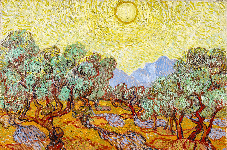 Oliveiras sob céu amarelo com sol, Vincent van Gogh (1853-1980), óleo sobre tela, no Instituto de Arte de Minneapolis, EUA, wikimedia.org.