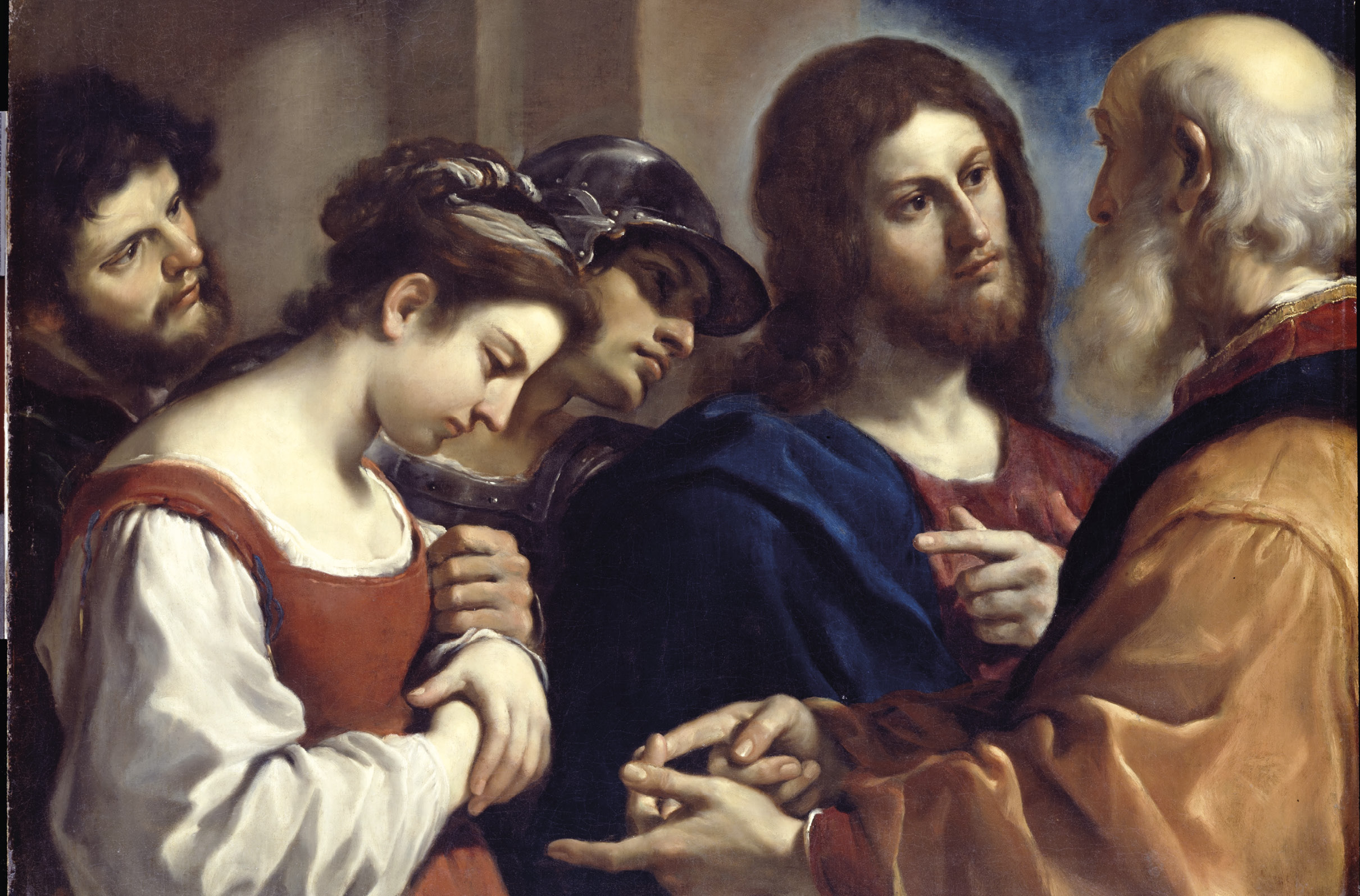 A mulher apanhada em adultério, óleo sobre de tela de Guercino, 1621. Wikimedia Commons.