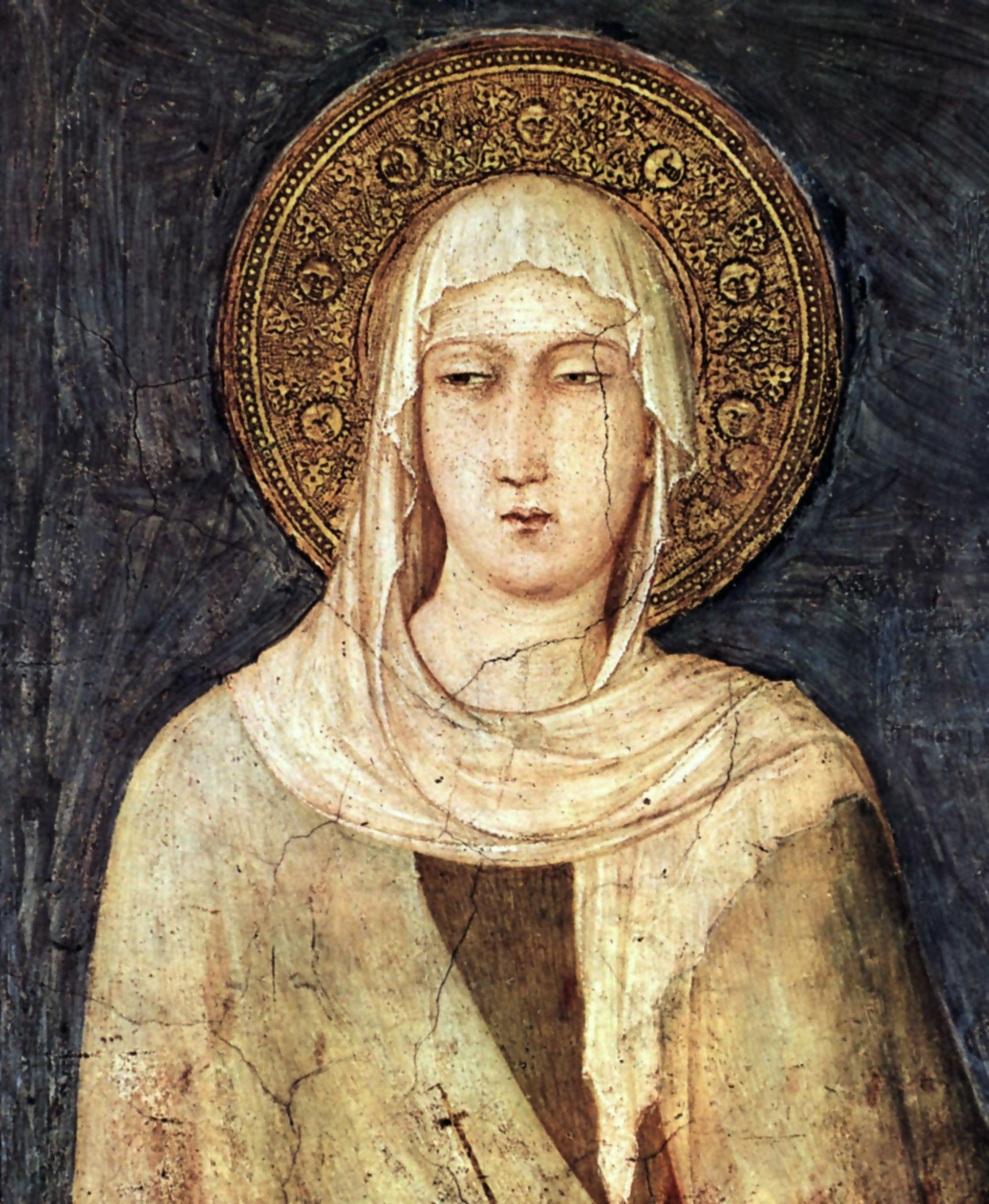 Santa Clara de Assis, Simone Martini (1284-1344), fresco na Basílica de São Francisco, em Assis.