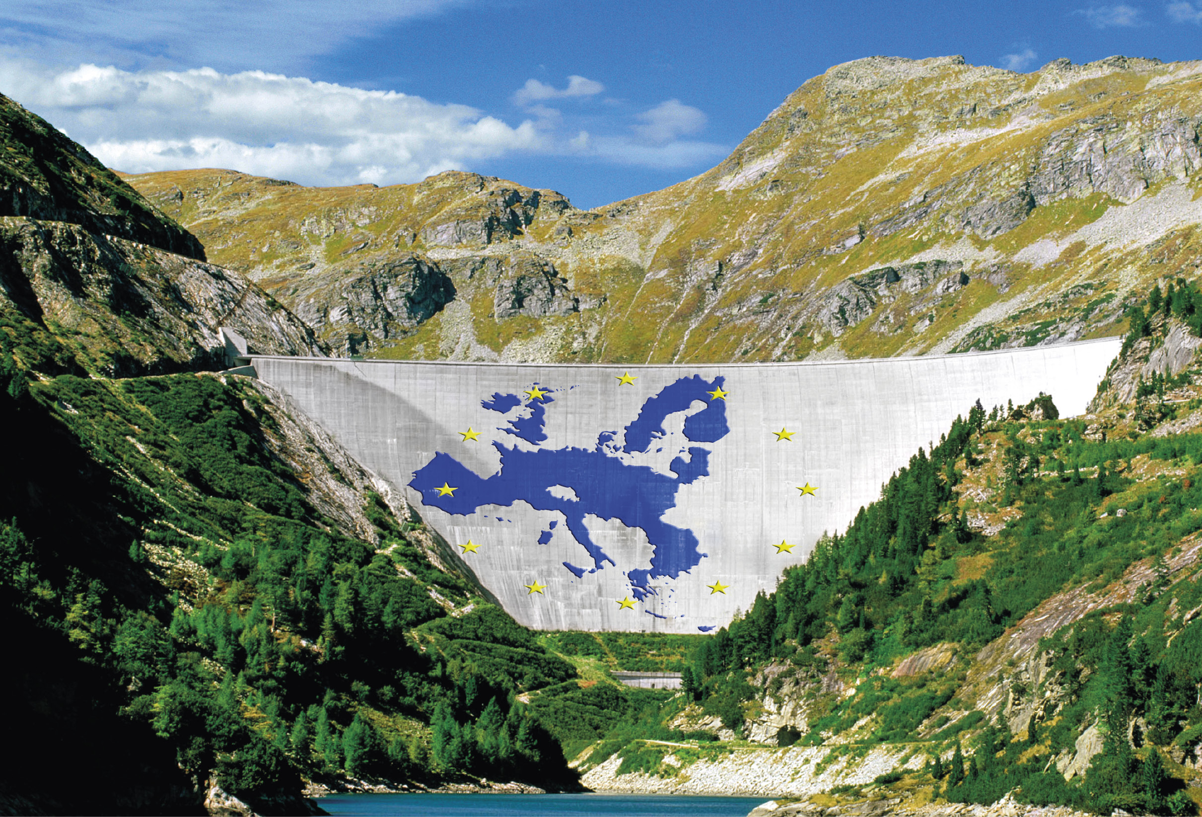 Mapa da Europa pintado em barragem simbolizando que a água é de todos.