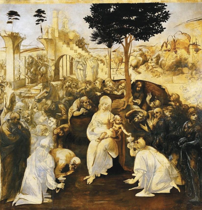 Adoração dos Magos, Leonardo da Vinci, Galleria degli Uffizi, Florença (1481-1482)