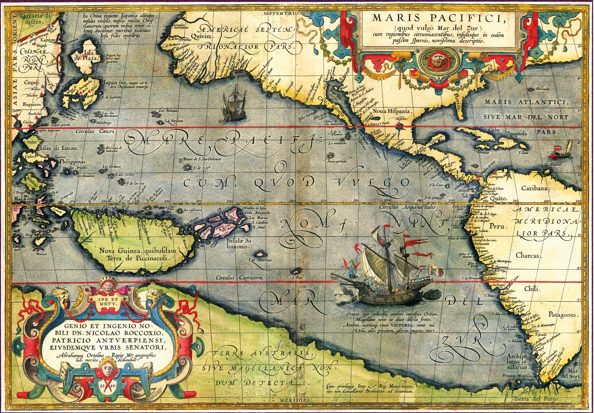 Mapa do Oceano Pacífico com a caravela Victoria. Abraham Ortelius, 1589. https://commons.wikimedia.org