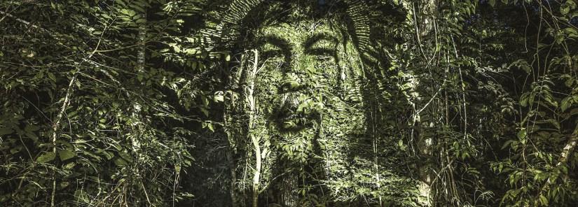 """Philippe Echaroux cria a """"primeira arte de rua do mundo"""", na Amazónia, com a tribo Suruí, usando tinta de luz em vez de tinta de spray. Philippe Echaroux é um fotógrafo francês, especialista em educação e artista de rua. Projeta os seus retratos em grande escala, chamando-os de """"Street Art 2.0"""" - """"Arte de Rua 2.0"""". http://www.philippe-echaroux.com/"""