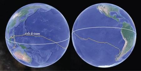 A longa travessia do Oceano Pacífico, do Estreito de Magalhães até a Ilha dos Ladrões, hoje Guam. https://www.rutaelcano.com/