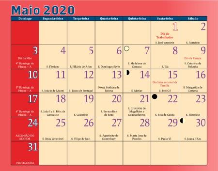 Calendário Antoniano Maio 2020