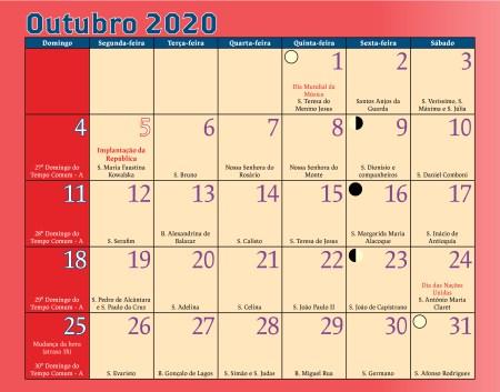 Calendário Antoniano Outubro 2020
